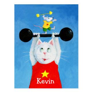 Trainings-Katze u. Mäuselustige Postkarte