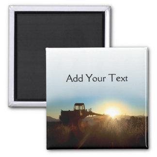 Traktor am Sonnenaufgang-Magneten Quadratischer Magnet