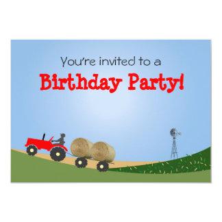 Traktor auf der Bauernhof-Party Einladung: Roter 12,7 X 17,8 Cm Einladungskarte