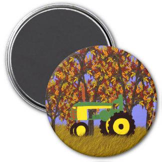 Traktor durch Herbst-Bäume 1 Runder Magnet 7,6 Cm