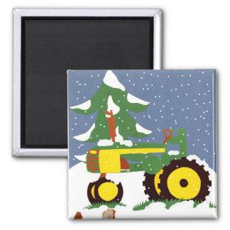 Traktor für Winter Quadratischer Magnet