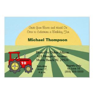 Traktor Geburtstags Einladungen Einladung