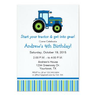 Traktor-Geburtstags-Party Einladung im Blau