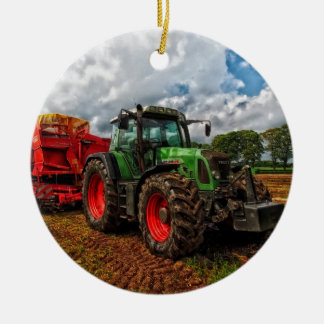 Traktor Keramik Ornament