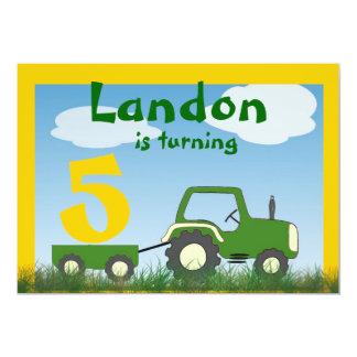 Traktor-Party Einladung: Alter im Wagen