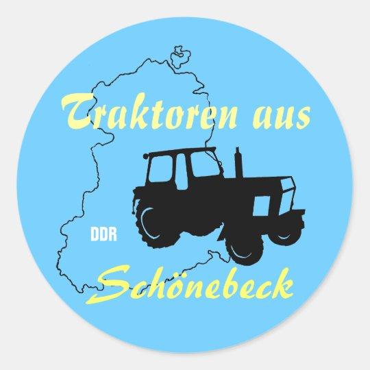 Traktorenwerbedesign DDR Runder Aufkleber