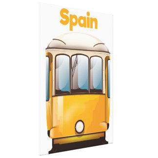 Tram-Reiseplakat Spaniens gelbes Leinwanddruck