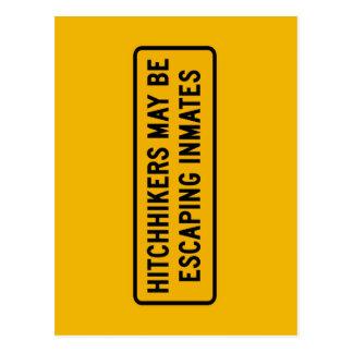 Tramper konnten entgehen, Verkehrszeichen, USA Postkarte