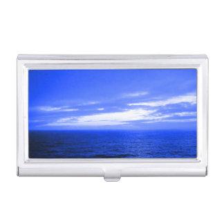 Tranquil blaues Ozean-Wellen-bewölktes Visitenkarten Etui