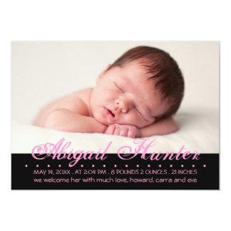 Transected Aufschrift-Foto-Geburts-Mitteilung 12,7 X 17,8 Cm Einladungskarte