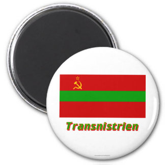 Transnistrien Flagge MIT Namen Runder Magnet 5,7 Cm
