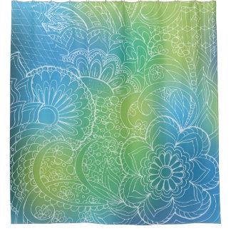 transparent whiter Zen pattern blue gradient Duschvorhang