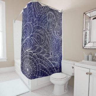 transparent whiter Zen pattern dark blue gradient Duschvorhang
