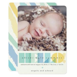 Transparente Blau-hallo Foto-Geburts-Mitteilung Karte