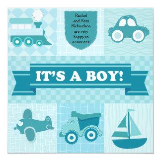 Transport-Geburts-Mitteilung Quadratische 13,3 Cm Einladungskarte