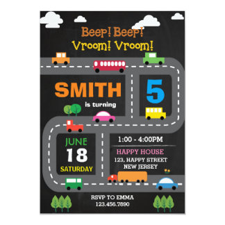 Transport-Geburtstags-Einladung Digital Karte