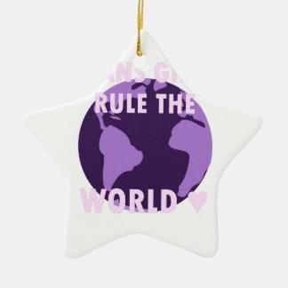 Transport-Mädchen ordnen die Welt an (v1) Keramik Ornament