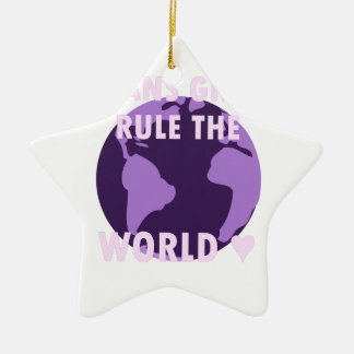 Transport-Mädchen ordnen die Welt an (v1) Keramik Stern-Ornament