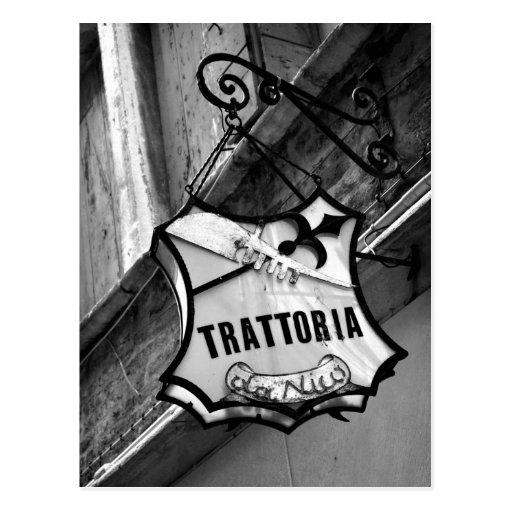 Trattoria Zeichen-Postkarte
