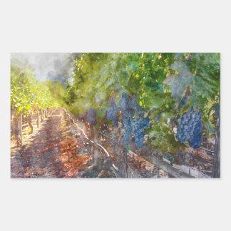 Trauben auf der Rebe in der Herbst-Jahreszeit Rechteckiger Aufkleber