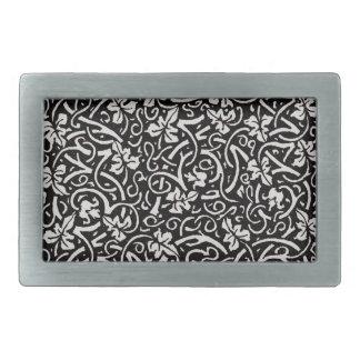 Trauben-Rebe-Kunst Williams Morris Schwarz-weiße Rechteckige Gürtelschnalle