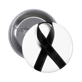 Trauer - schwarzes Band Runder Button 5,7 Cm