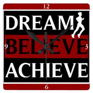 Traum glauben erzielen Läufer-Wanduhr Wanduhren