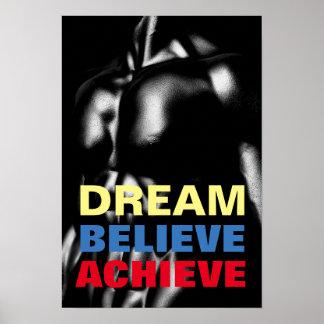 Traum glauben erzielen motivierend Bodybuilding Poster