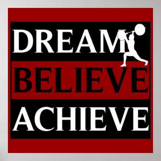 Traum glauben erzielen Weightlifting-Plakat