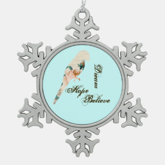 Traum, Hoffnung, glauben Vogel Schneeflocken Zinn-Ornament