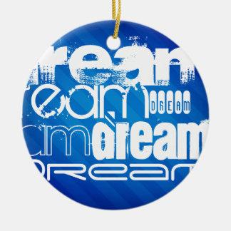 Traum; Königsblau-Streifen Weihnachtsornament