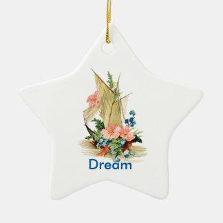 Traum mit Vintagem Segelboot Keramik Stern-Ornament
