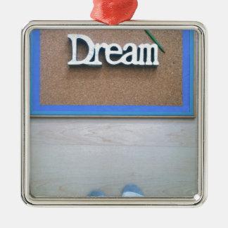 Traum Quadratisches Silberfarbenes Ornament