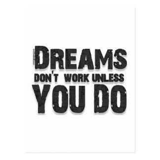 Träume arbeiten nicht postkarten