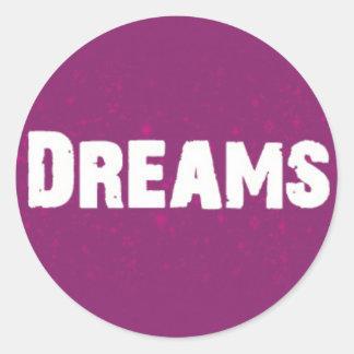 Träume auf Lila Runder Aufkleber