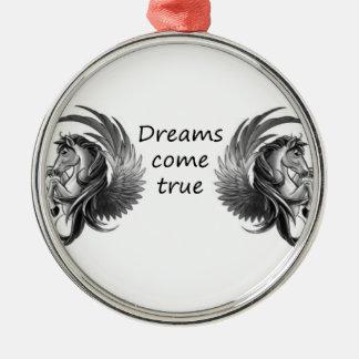 Träume kommen silbernes ornament