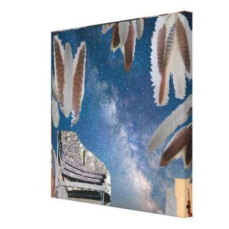 Träumen der Bank-Foto-Collage Leinwanddruck