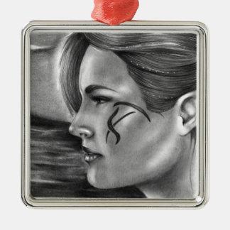 Träumen der erstklassigen Verzierung Quadratisches Silberfarbenes Ornament