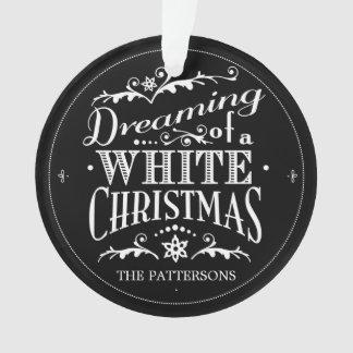 Träumen einer weißes Weihnachtstafel-Verzierung