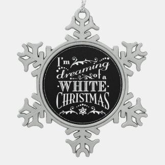 Träumen einer weißes Weihnachtstafel-Verzierung Schneeflocken Zinn-Ornament