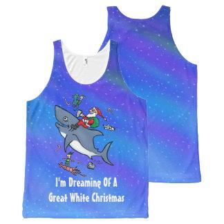 Träumen eines Hai-lustigen Weihnachten Komplett Bedrucktes Tanktop