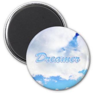 Träumer-geschwollene weiße Wolken und blauer Runder Magnet 5,7 Cm
