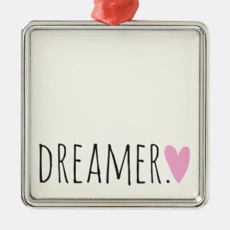 Träumer mit Herzen Quadratisches Silberfarbenes Ornament