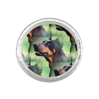Träumerische Dobermannpinscher-Gesichts-Malerei Ring
