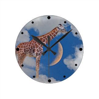 Träumerische Giraffe Runde Wanduhr
