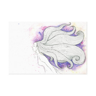 Träumerische Wasserfarbe- und Tintenillustration Leinwanddruck