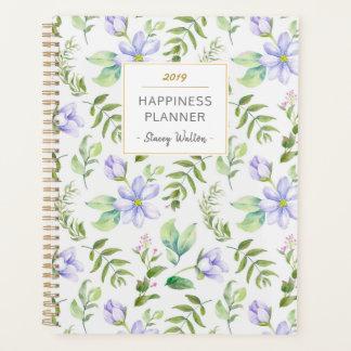 Träumerischer lila Blumengarten-Glück-Planer Planer