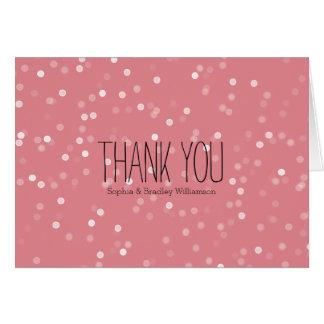 Träumerischer rosa und weißer Confetti Bokeh Karte