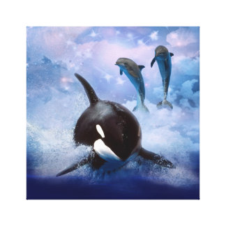 Träumerischer Wal und Delphine Leinwanddruck