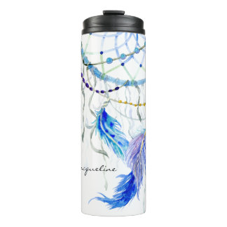 Traumfänger-Aquarell versieht Lavendel-Perlen mit Thermosbecher
